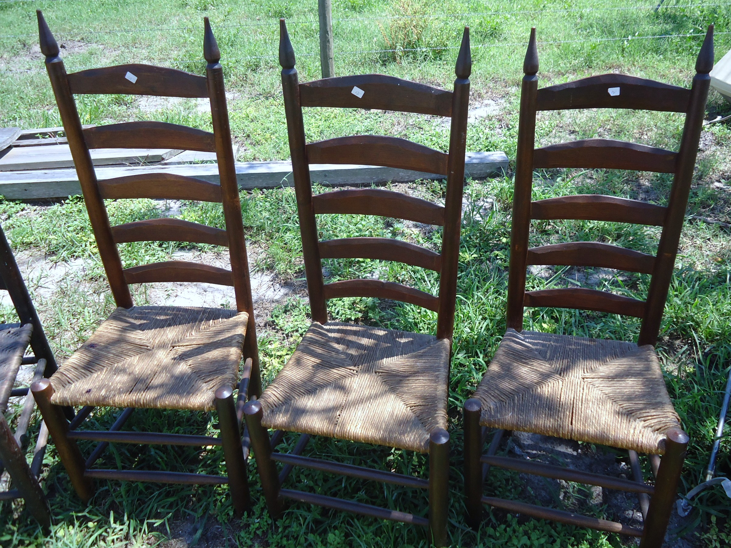 antique ladder back chairs with rush seats like dxracer 3 hand carved possibly maple or pine seat