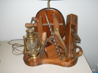 Lamp made of old wood tools antique appraisal | InstAppraisal