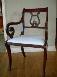Duncan Phyfe Pedistal Mahogany Table 6 Lyre Back Chairs ...