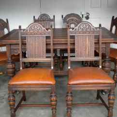 Oak Dining Set 6 Chairs Wedding Chair Covers North East Antique English Table And With Leather Bottoms