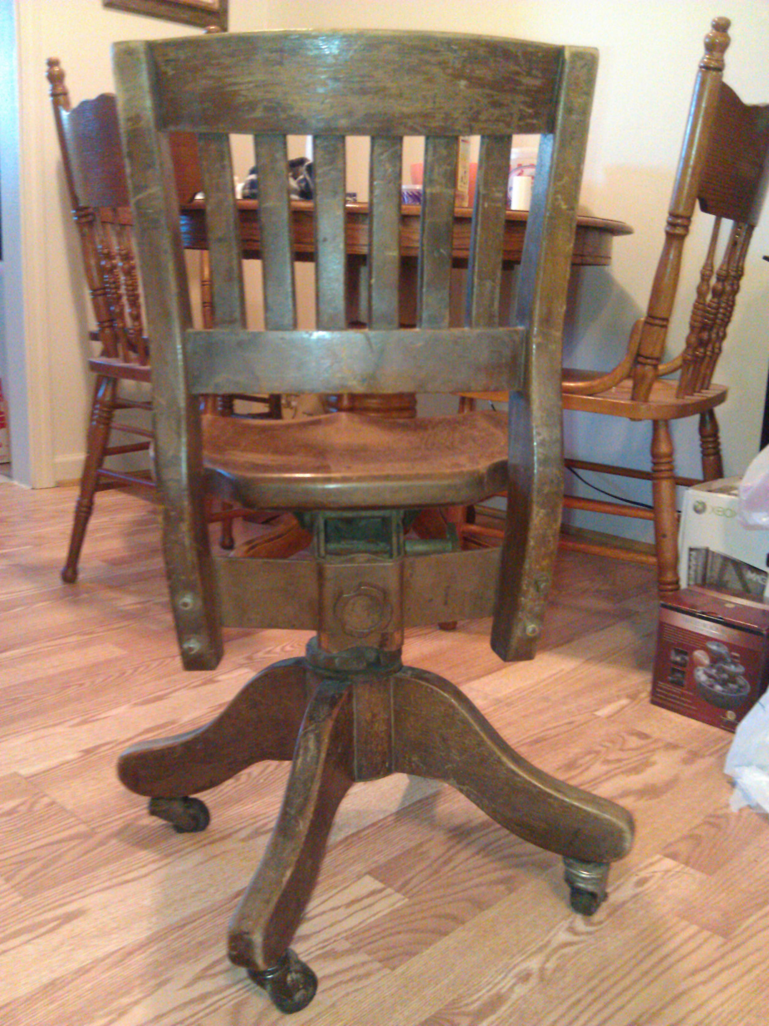 Wooden swivel desk chair antique appraisal  InstAppraisal