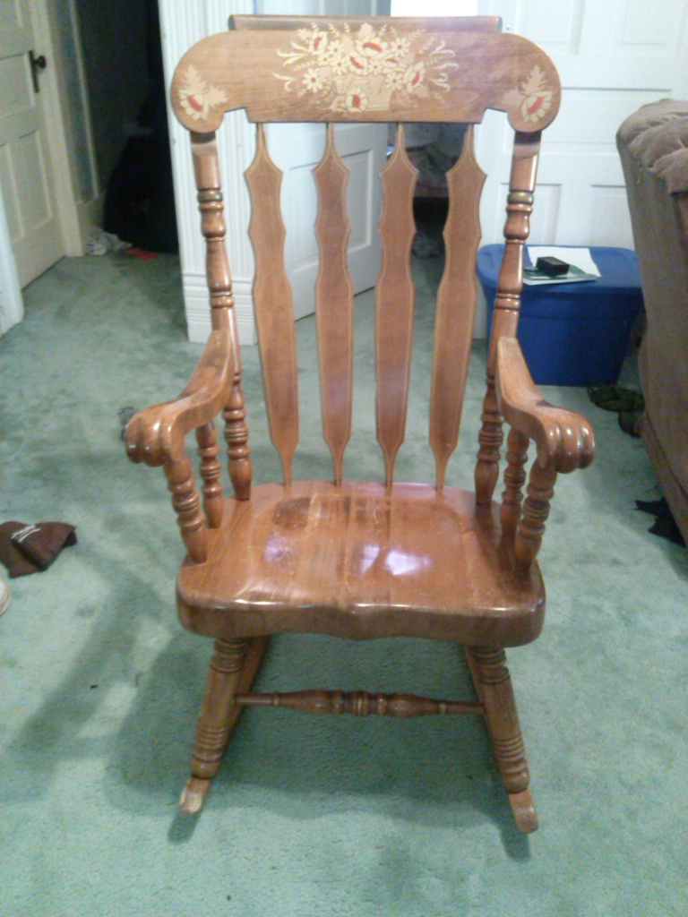 antique rocking chairs value fairfield wingback chair with floral scene on top of front