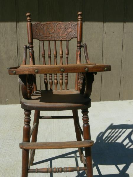antique wooden high chair bedroom bed unicorn carved appraisal