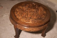 Asian / Oriental round coffee table with hand carved ...