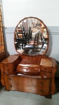 Antique Maple Wood Vanity Dresser with Mirror antique ...