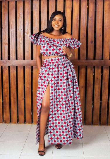 KACHI African Print Maxi Skirt, Off-the-Shoulder Gathers Crop Top, Anka - Afrikrea