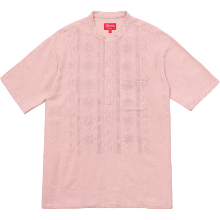 Embroidered Band Collar S/S Shirt (Dusty Pink)
