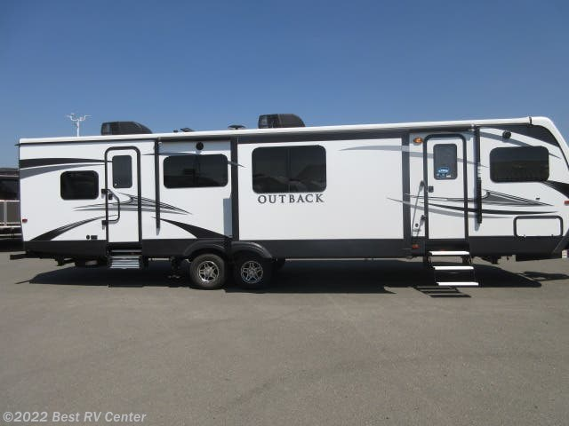 front kitchen travel trailer industrial lighting 2019 keystone outback 332fk three slide outs two entry d new