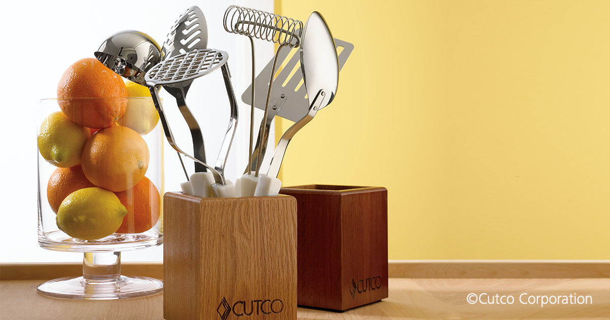 kitchen tool holder small with dining table wood utensil storage by cutco