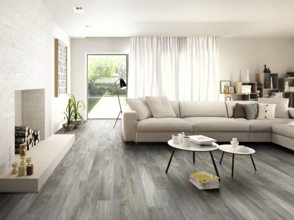 gray porcelain tile living room Ceramic & Porcelain Tile - Wood Grain Look   BuildDirect®
