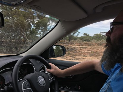 David driving to Wilpena Pound