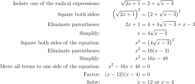 \text{Isolate one of the radical expressions:} && \sqrt{2x
