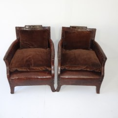 Small Leather Club Chairs Black Dining With Legs Pair Of French Vintage Mecox Gardens
