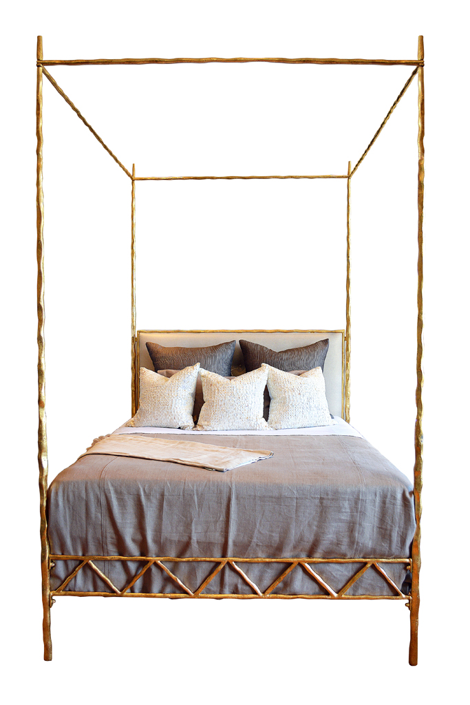mandy queen four poster twisted metal bed