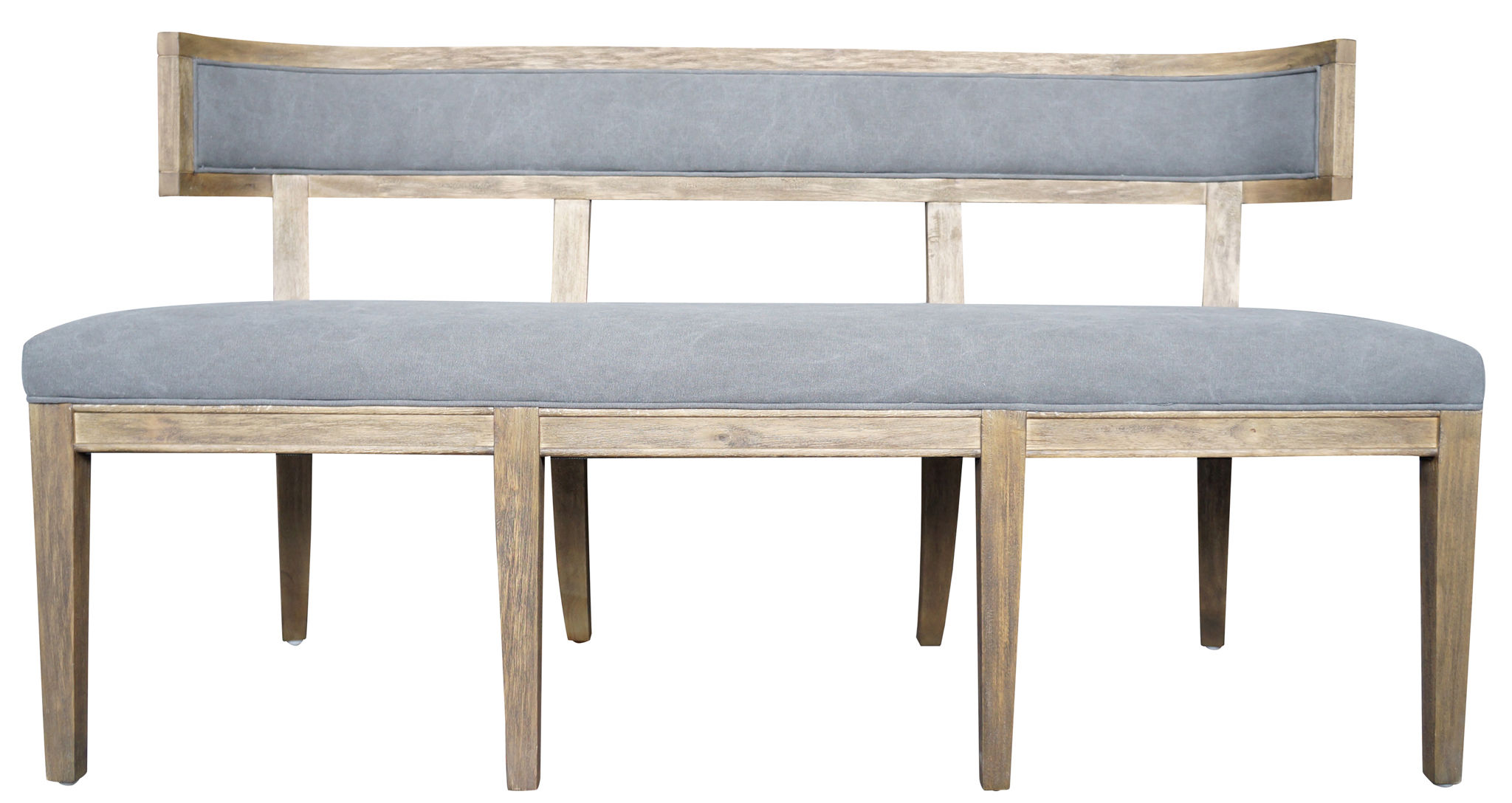 Canvas And Wood Curved Dining Bench Mecox Gardens