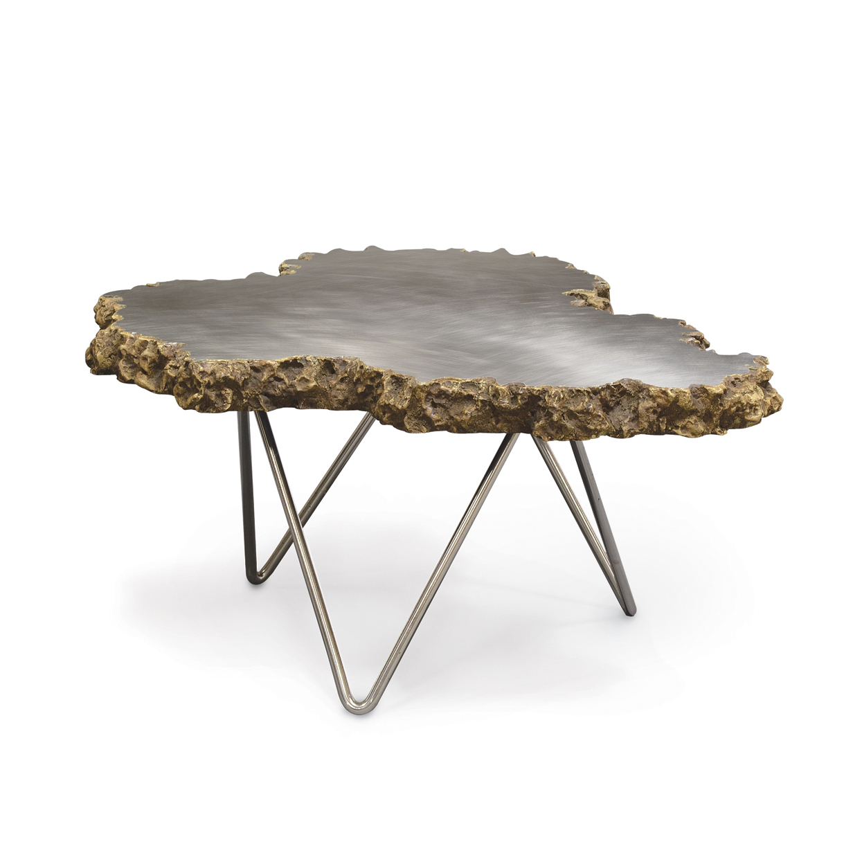 Small Stainless Steel and Lava Stone Coffee Table