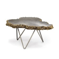 Small Stainless Steel and Lava Stone Coffee Table - Mecox ...