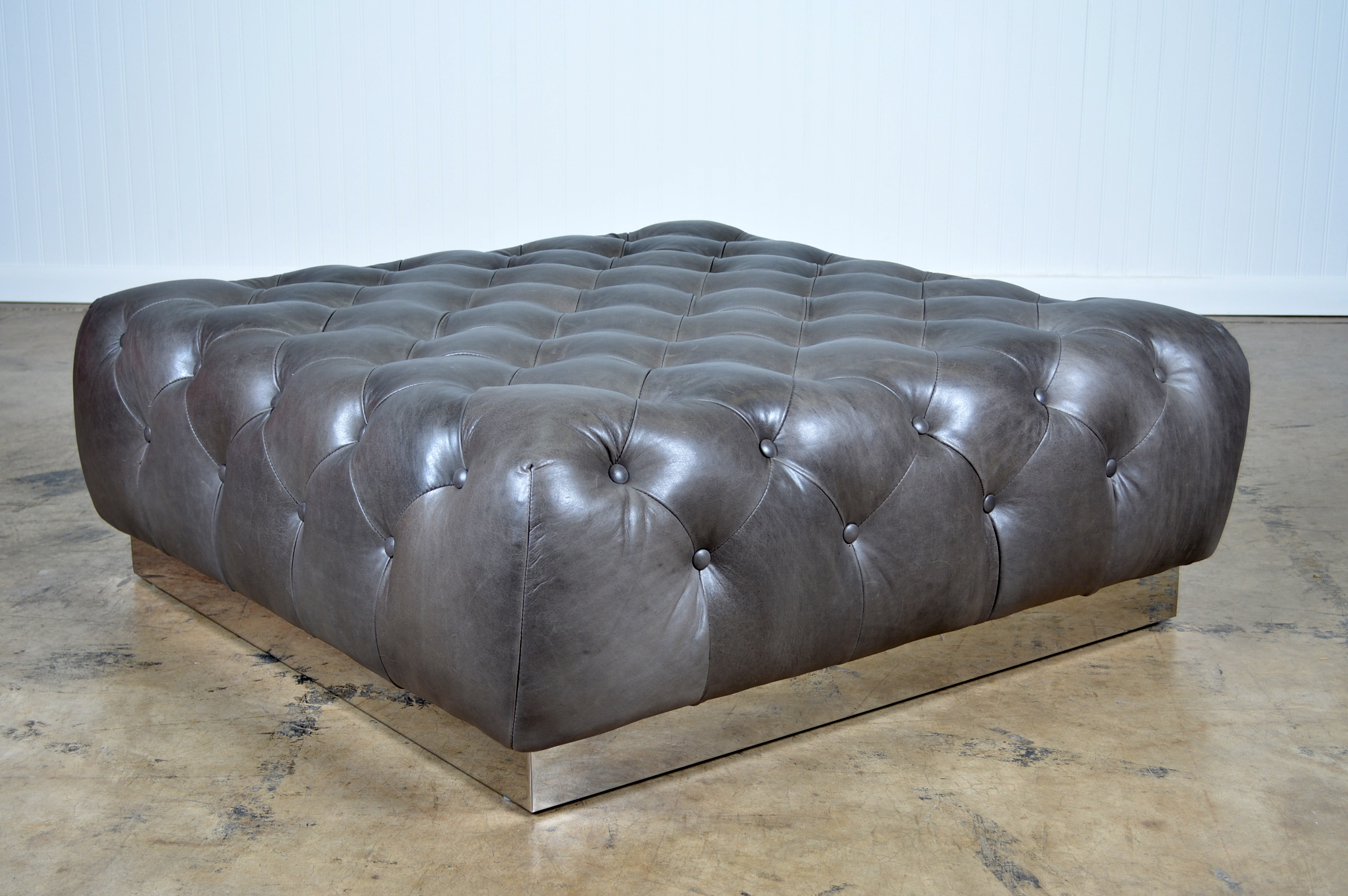 tufted leather coffee table ottoman
