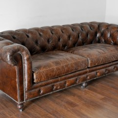 Tufted Brown Leather Sofa Turner Pottery Barn Review Small David Mecox Gardens Previous Next