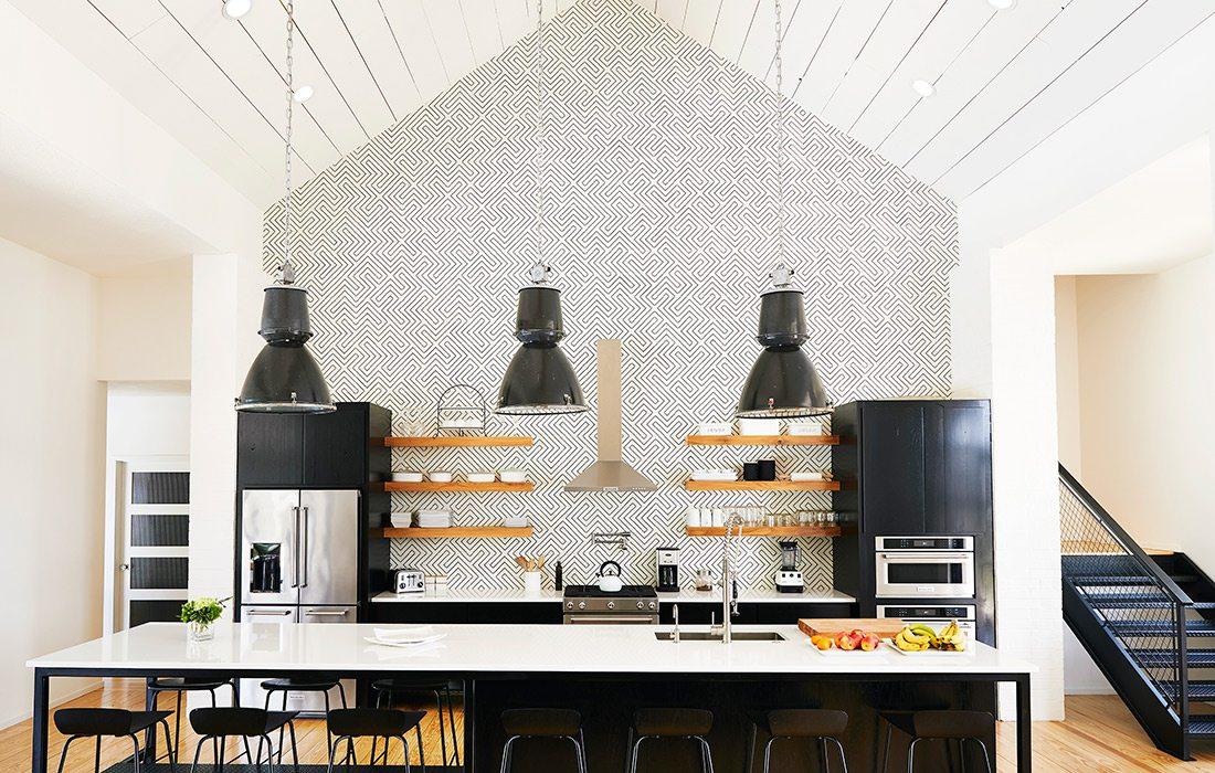 geometric tile backsplash in the kitchen