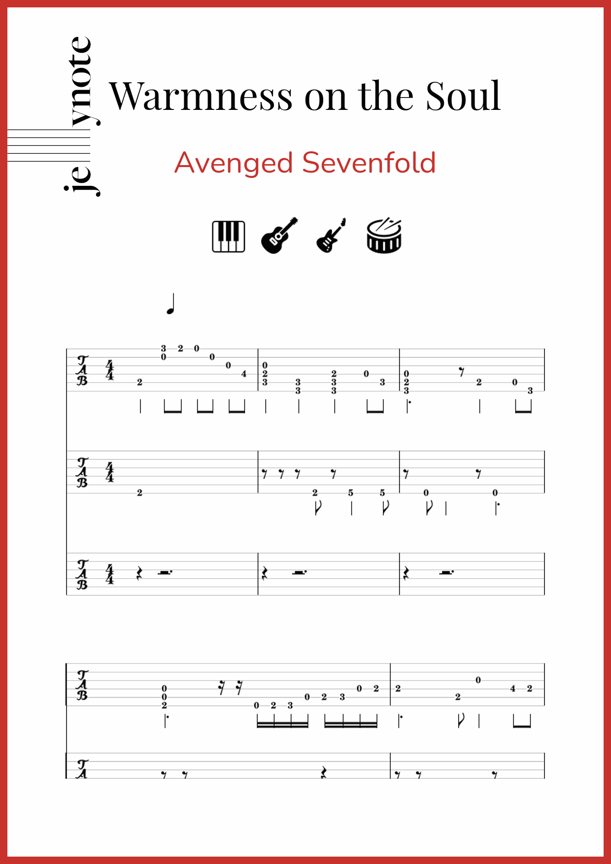 Chord Warmness On The Soul : chord, warmness, Avenged, Sevenfold,