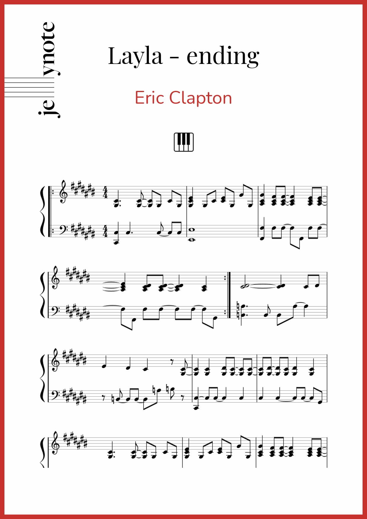 Layla Piano Exit Sheet Music : layla, piano, sheet, music, Clapton,