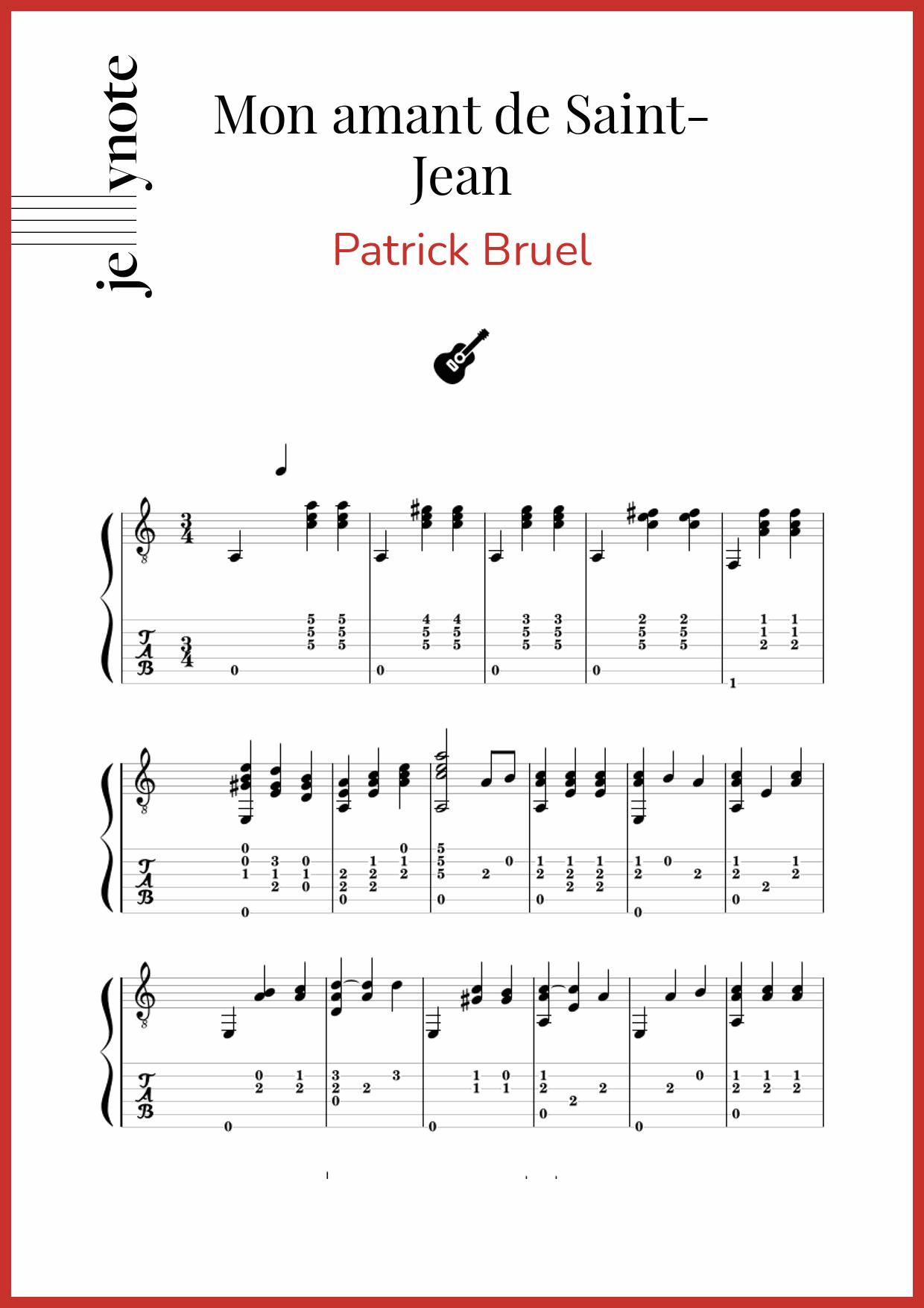 MON AMANT DE ST. JEAN - Patrick Bruel - LETRAS.COM