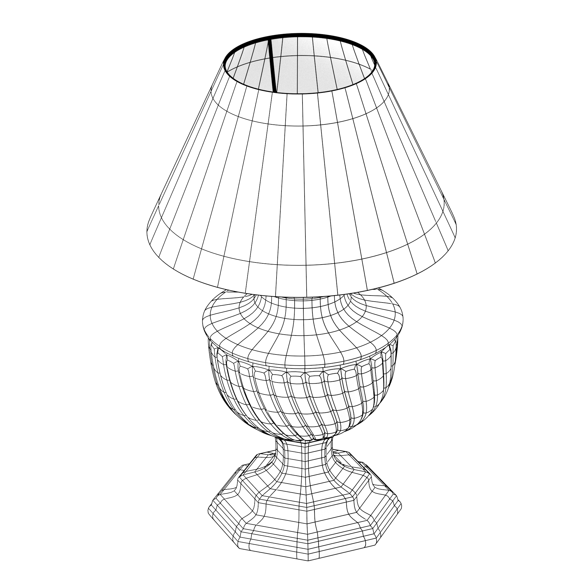 Old-style lamp with beige lampshade 3D Model