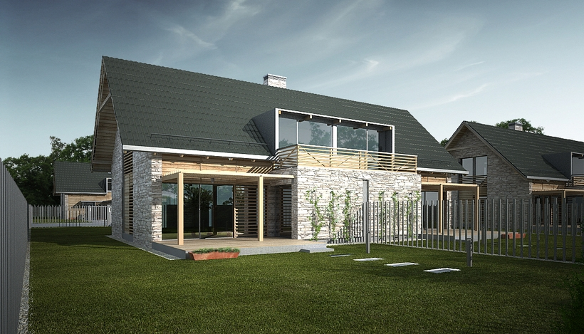 Vray Night and Day Twin House Scene and desig idea 3D Model