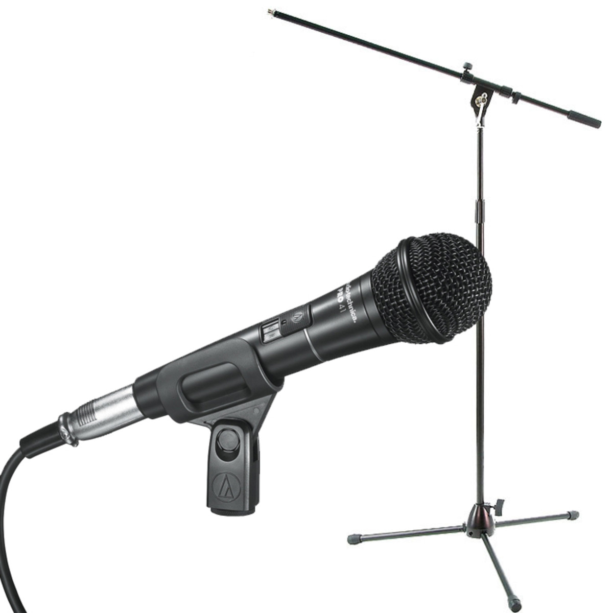 Audio Technica Pro41 With Boom Mic Stand And Cable At