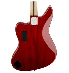 squier vintage modified jaguar bass special crimson red transparent rear close up view  [ 1200 x 1200 Pixel ]