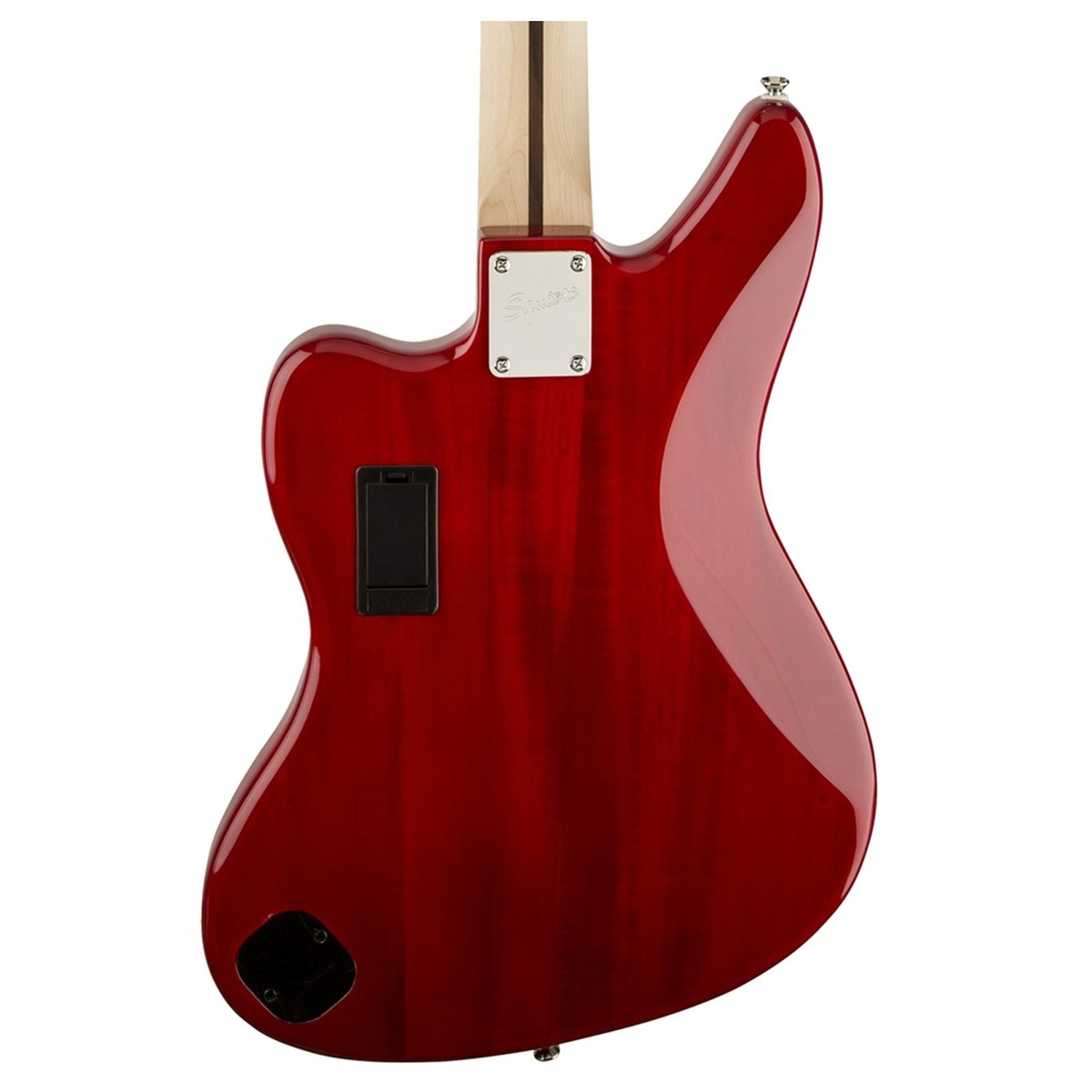 hight resolution of  squier vintage modified jaguar bass special crimson red transparent rear close up view