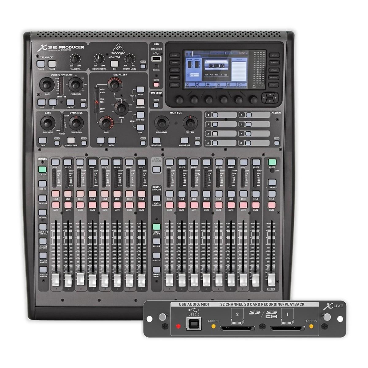 Behringer X32 PRODUCER. Console de Mixage Numérique avec Carte d'Extension X-LIVE   Gear4music