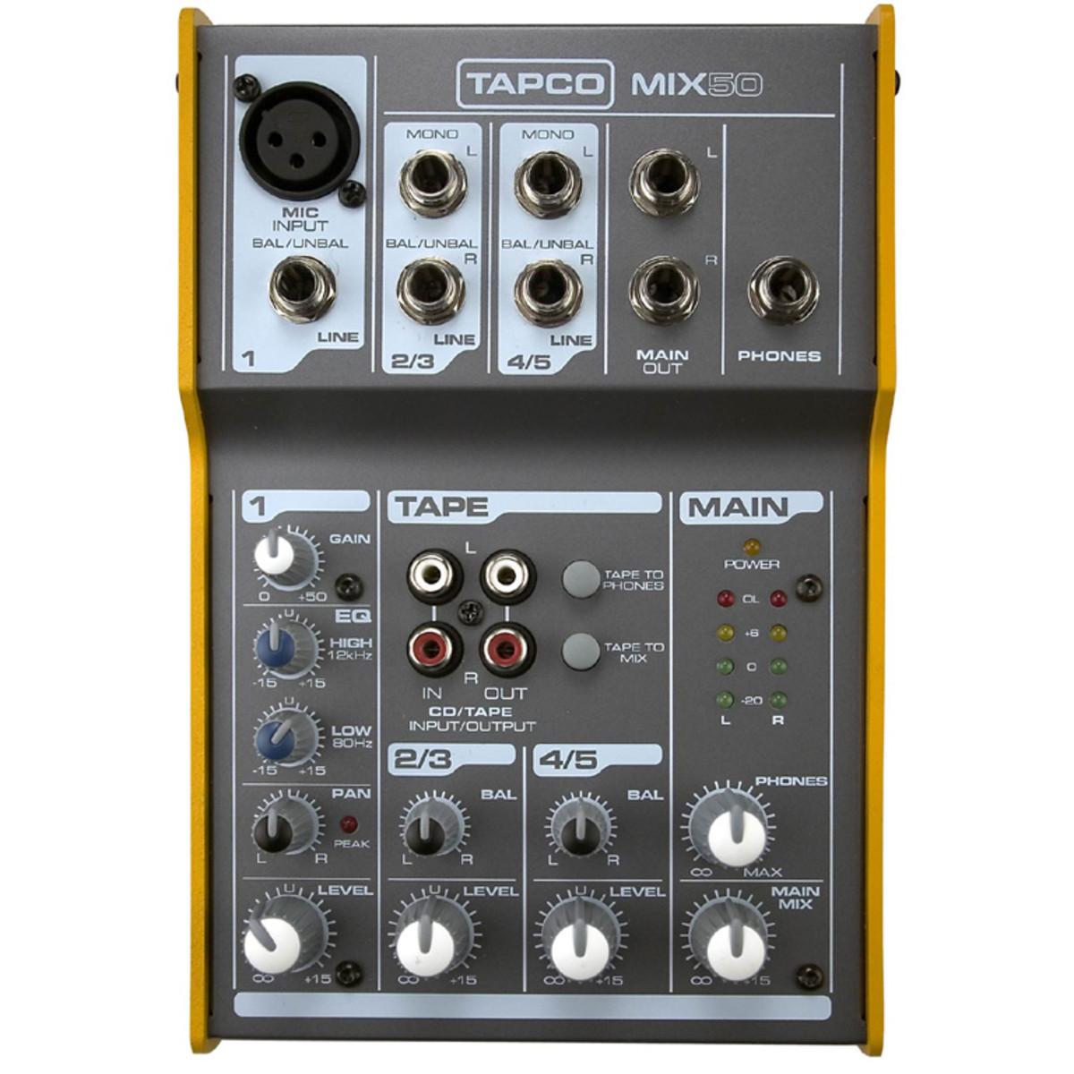 Tapco MIX 50 Ultra Compact Mixer at Gear4music