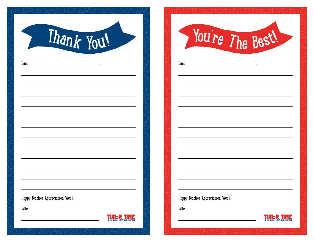 Printable Thank You Notes For Teacher Appreciation Week