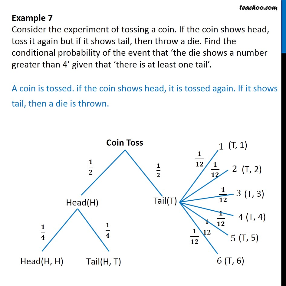 medium resolution of example 7 if coin shows head toss it again but if shows tail