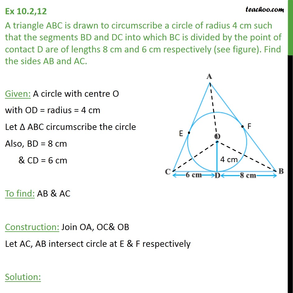 hight resolution of ex 10 2 12 a triangle abc is drawn to circumscribe a circle ex