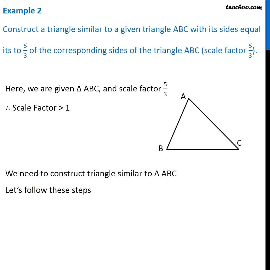 hight resolution of Example 2 - Construct similar triangle. Scale factor 5/3 - Chapter 11