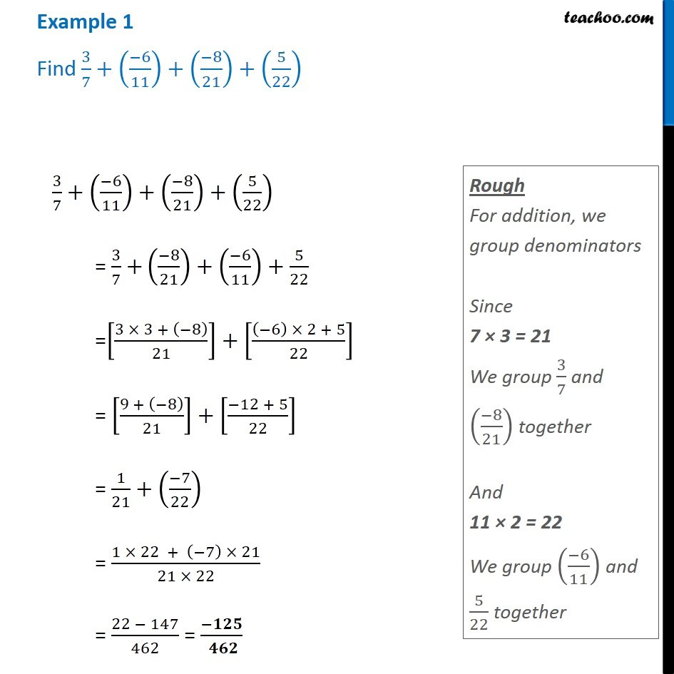 hight resolution of Example 1 - Find 3/7 + (-6/11) + (-8/21) + (5/22) - Chapter 1 Class 8