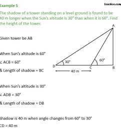 example 5 the shadow of a tower standing on a level ground examples [ 945 x 945 Pixel ]