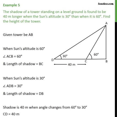 small resolution of example 5 the shadow of a tower standing on a level ground examples