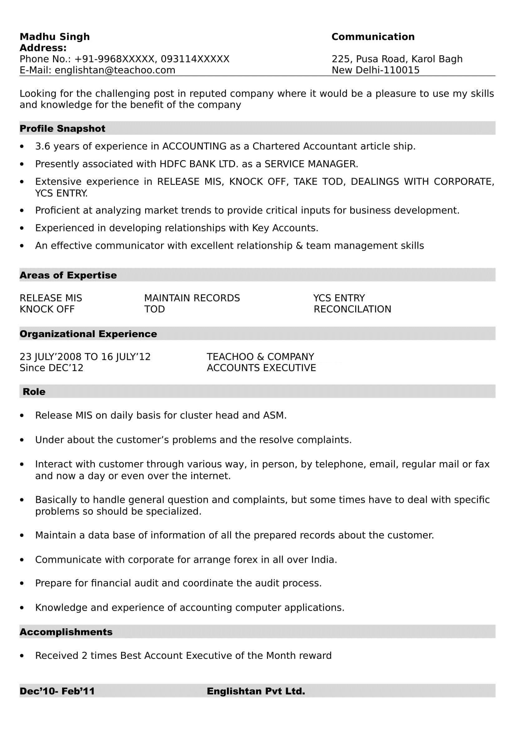 Resume Formats  Making Resume