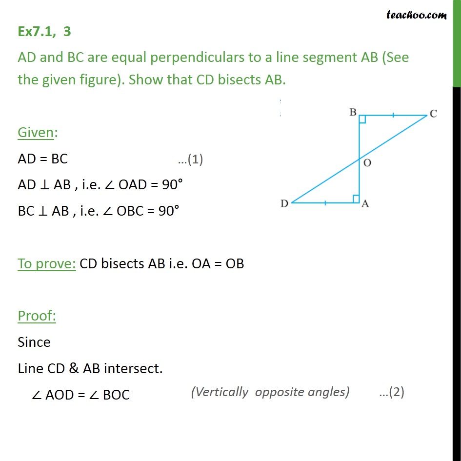 medium resolution of ex 7 1 3 ad and bc are equal perpendiculars to a line ex