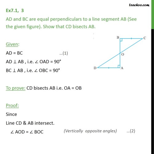 small resolution of ex 7 1 3 ad and bc are equal perpendiculars to a line ex