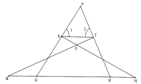In figure ∠ 1 = ∠ 2 and ∆NSQ ≅ ∆MTR, then prove that ∆PTS