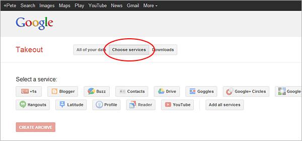 Google Reader export, step 2