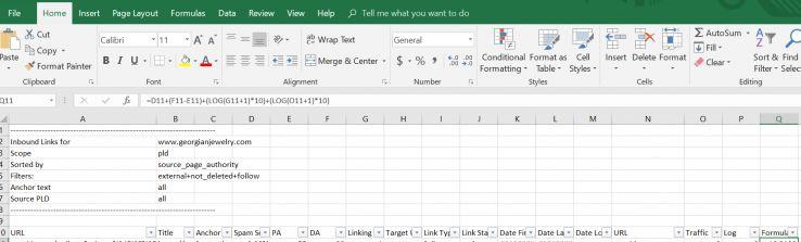 Excel formula: =D11+(F11-E11)+(LOG(G11+1)*10)+(LOG(O11+1)*10)
