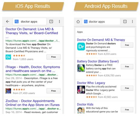 Mobile app search results and mobile app pack
