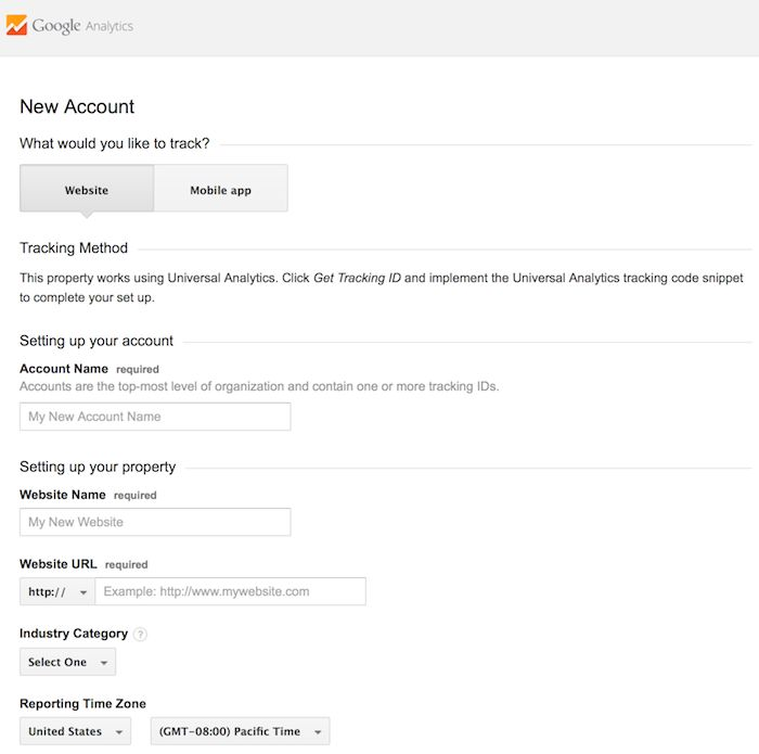 setting up a new account in google analytics