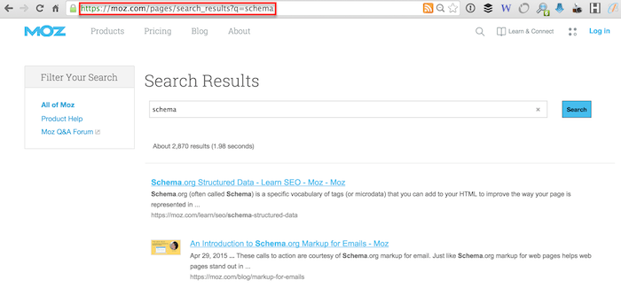 site search query parameter